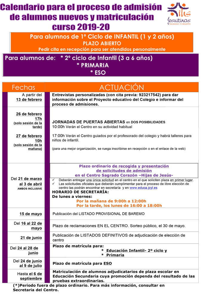 Calendario Escolar 2020 Cyl.Admision